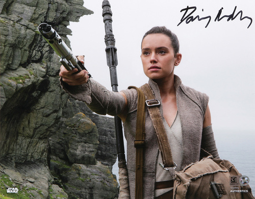 Daisy Ridley as Rey Autographed In Black Ink 8x10 Photo