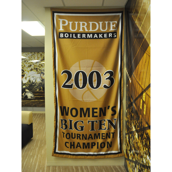Photo of Mackey Arena Banner: Women's Basketball 2003 B1G Tourney Champs