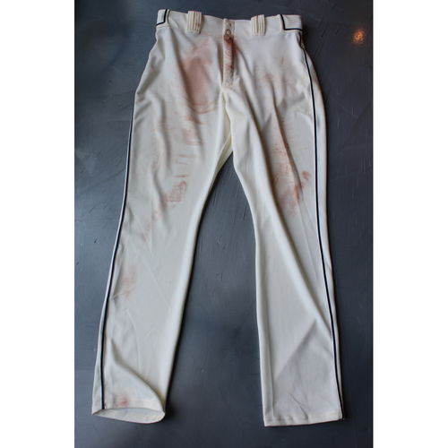 "Photo of Game-Used Pants: Lucas Duda (Inside of pants say ""Nolasco"") (Size 37-45-36 - DET at KC - 5/6/18)"