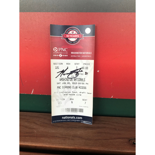 Photo of Autographed Max Scherzer Ticket - June 20, 2015