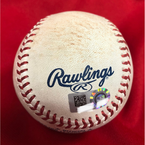 Photo of Joey Votto Single & Scooter Gennett Single on Same Baseball -- Game Used -- 06/30/2018 -- MIL vs. CIN -- 4th Inning -- Chacin to Votto (1B); to Gennett (1B)