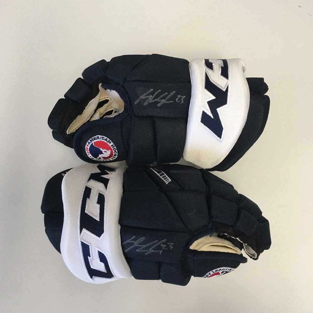 2019 Lexus AHL All-Star Classic Gloves Worn and Signed by #23 Kyle Capobianco