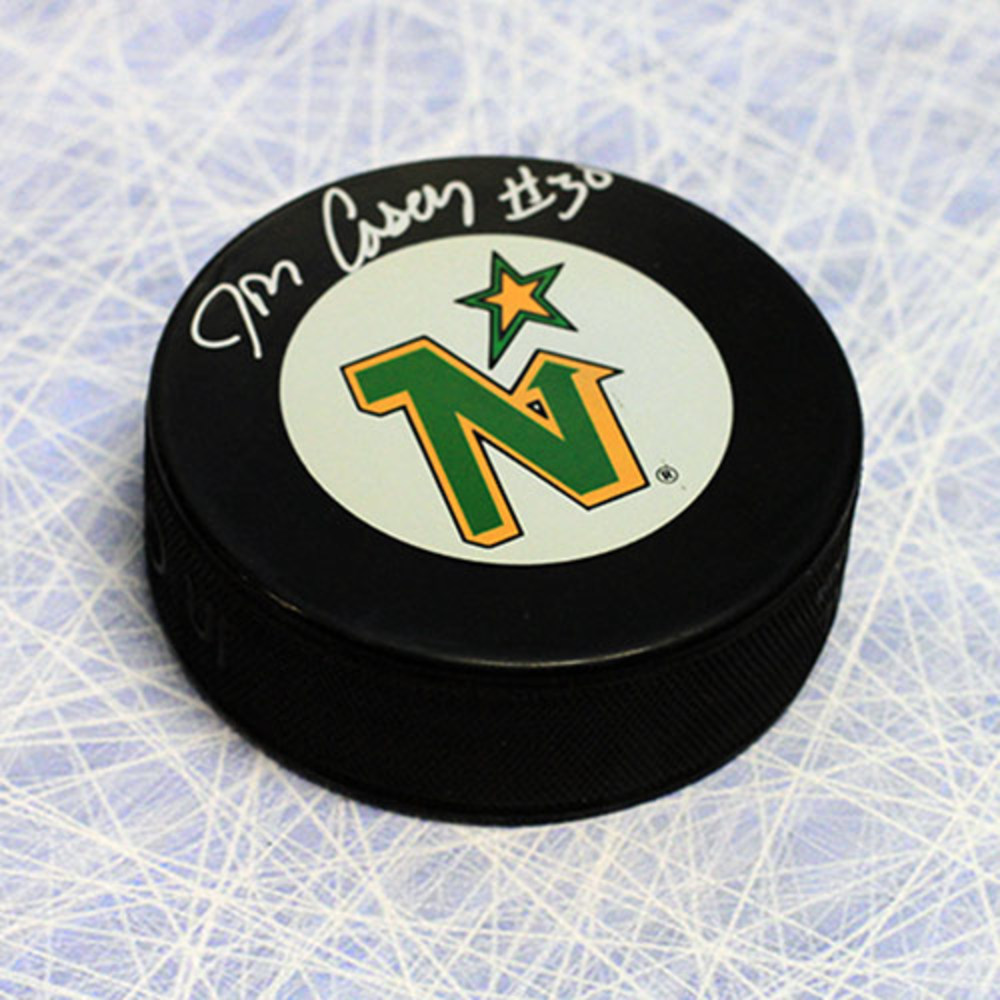 Jon Casey Minnesota North Stars Autographed Hockey Puck