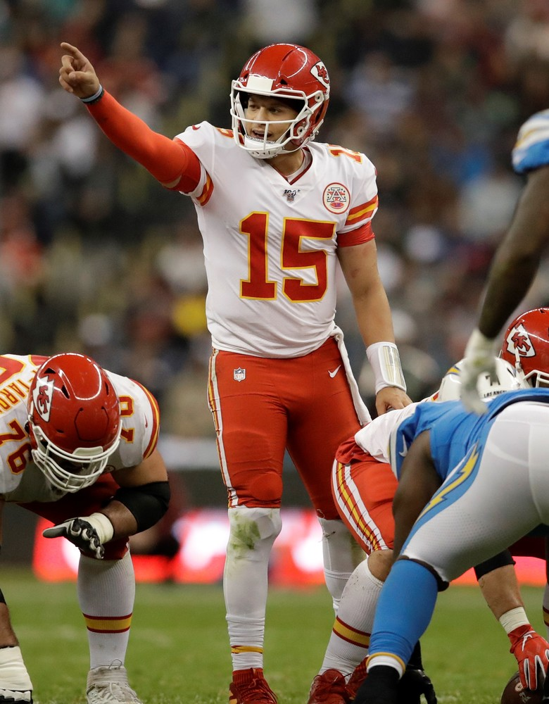 Patrick Mahomes Game Worn Chiefs Jersey with NFL100 patch (11/18/2019) - Auction benefits 15 and the Mahomies Foundation