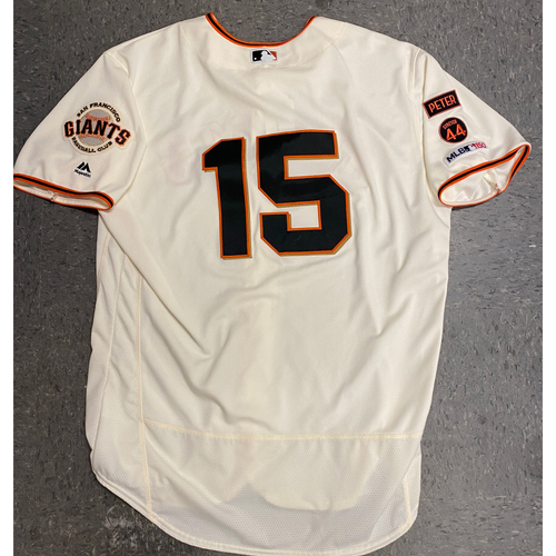 Photo of 2019 Game Used Home Cream Jersey worn by #15 Bruce Bochy on 9/28 vs. Los Angeles Dodgers - Size 52