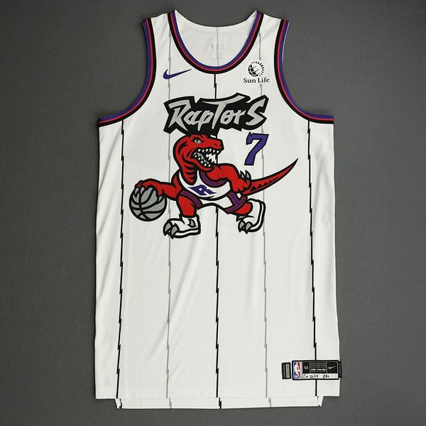 Image of Kyle Lowry - Toronto Raptors - Game-Worn Classic Edition 1995-96 Home Jersey - Scored Game-High 26 Points - 2019-20 Season