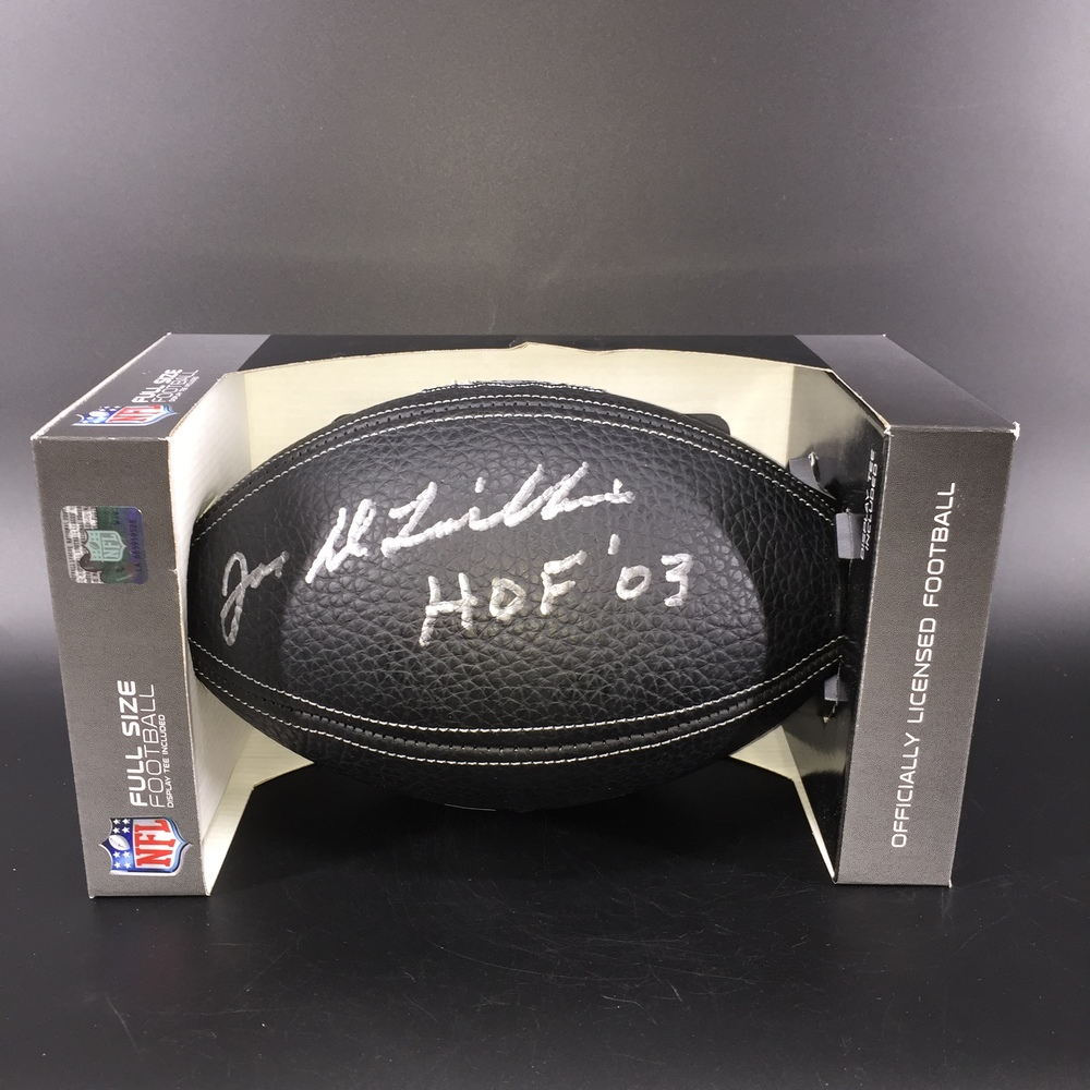 HOF - Bills Joe DeLamielleure Signed NFL Auction Exclusive Commemorative Hall of Fame Football W/ 100 Seasons Logo