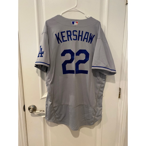 Photo of Clayton Kershaw Authentic Game-Used Jersey from 8/16/20 Game vs LAA - Size  48