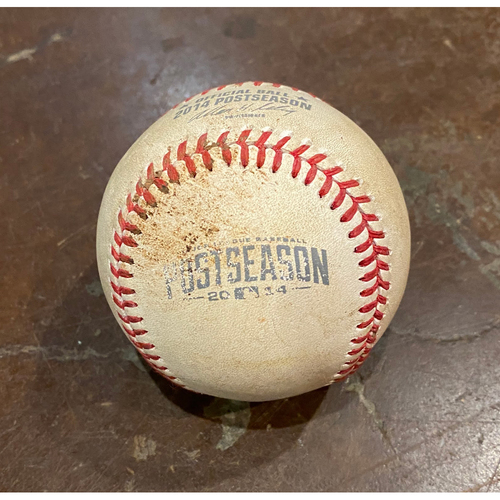 Photo of 2014 NLCS Game 3 Game Used Baseball used on 10/14/14 vs. STL - B-9: Seth Maness to Hunter Pence - Pitch in the Dirt