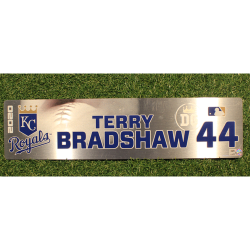 Photo of Game-Used Locker Tag: Terry Bradshaw #44 (DET @ KC 9/24/20)