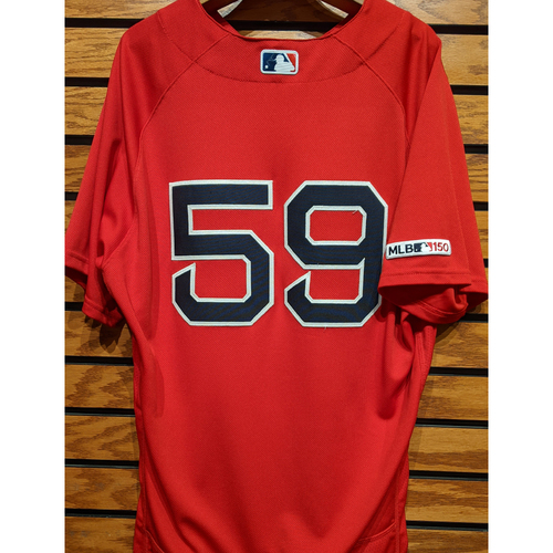 Photo of Sam Travis #59 Game Used Red Home Alternate Jersey