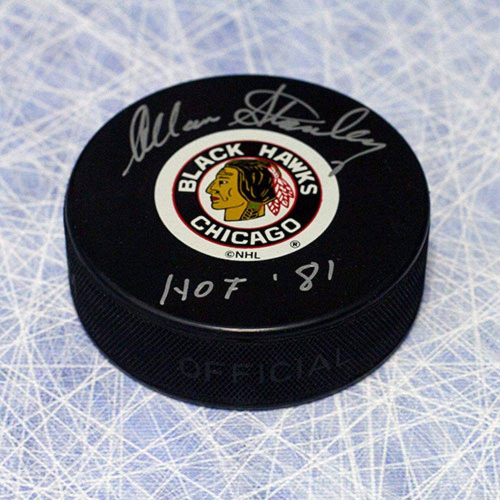 Allan Stanley Chicago Blackhawks Autographed Hockey Puck with HOF Inscription