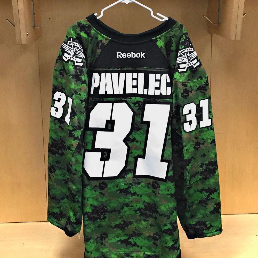 Ondrej Pavelec Winnipeg Jets Warm Up Issued Canadian Armed Forces jersey
