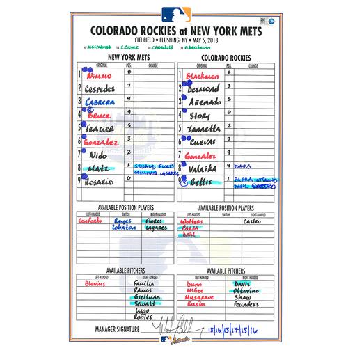 Photo of Game Used Lineup Card - Steven Matz Start; 6 IP, 1 Run, 5 K's - Mets vs. Rockies - 5/5/18