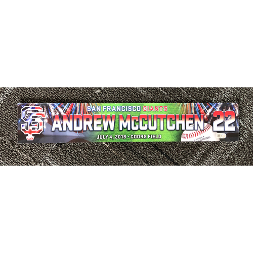 Photo of San Francisco Giants - 2018 Stars & Stripes Locker Name Plate - #22 Andrew McCutchen