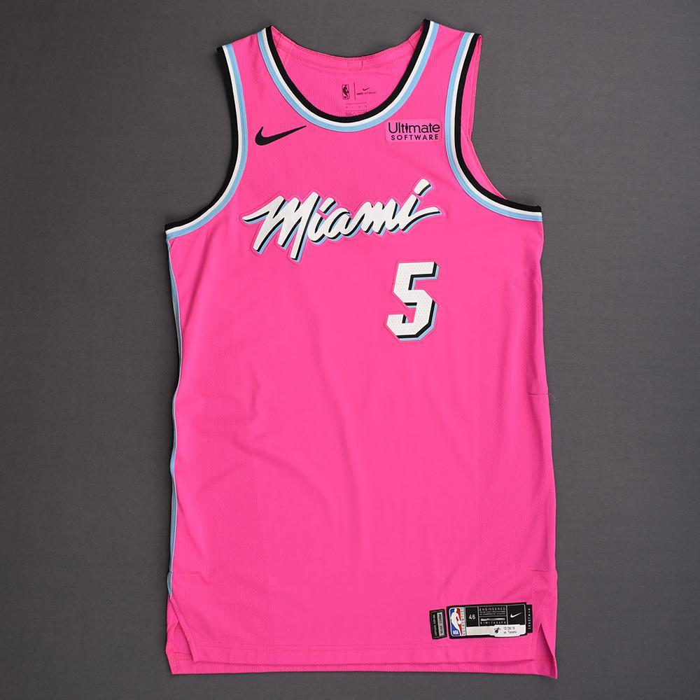 Derrick Jones Jr. - Miami Heat - 2018-19 Season - Game-Worn Pink Earned Edition Jersey