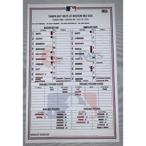 Photo of Tampa Bay Rays vs Boston Red Sox July 30, 2019 Game Used Lineup Card - Rays Win 6 to 5