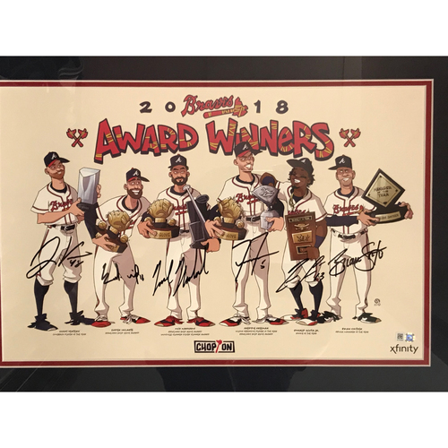 MLB Authenticated Autographed 2018 Atlanta Braves MLB Award Winners Poster