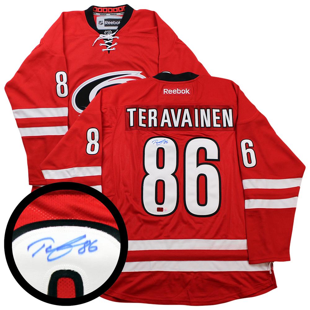 Teuvo Teravainen Signed Jersey Hurricanes Replica Red 2016-17 Reebok