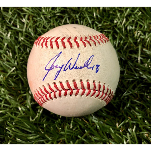 Photo of Game Used Autographed Baseball: C.J. Cron strike out and Joey Wendle triple off Corey Kluber - September 10, 2018 v CLE - Joey Wendle Autographer