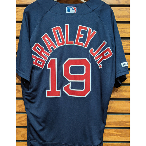 Photo of Jackie Bradley Jr. #19 Game Used Navy Road Alternate Jersey