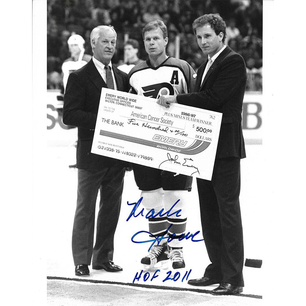 Mark Howe Autographed Philadelphia Flyers 8X10 Photo w/Gordie Howe