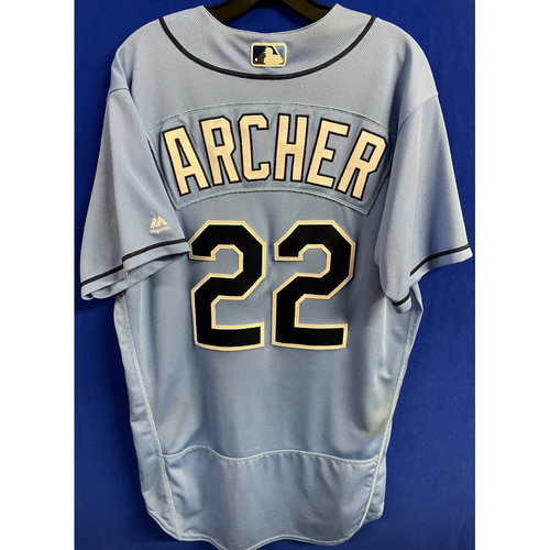 Photo of Game Used Columbia Blue Jersey: Chris Archer (6.2IP, 8 SO) - July 9, 2017 v BOS