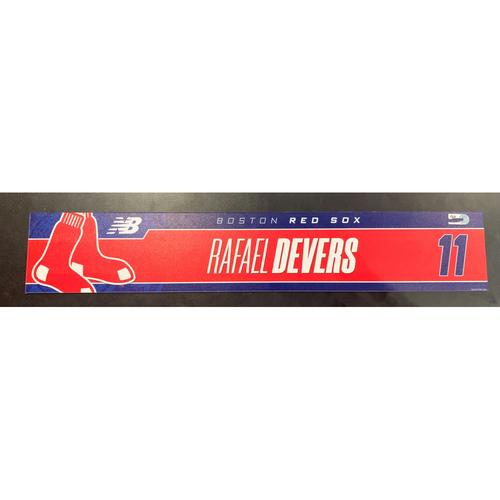 Photo of Rafael Devers April 7, 2021 Game Used Locker Tag
