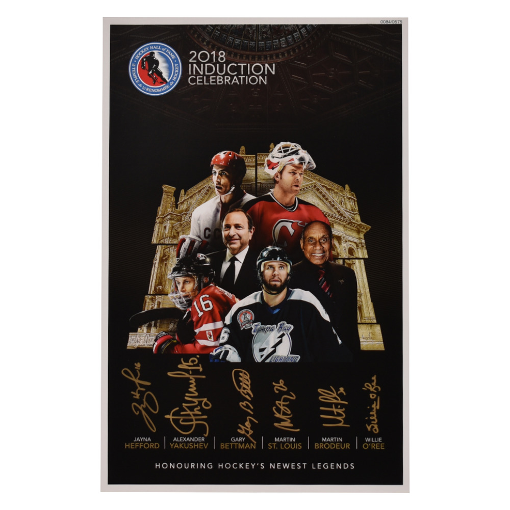 St. Louis, Brodeur, Yakushev, Hefford, O'Ree, Bettman - Class of 2018 Induction Signed Poster - Limited Edition