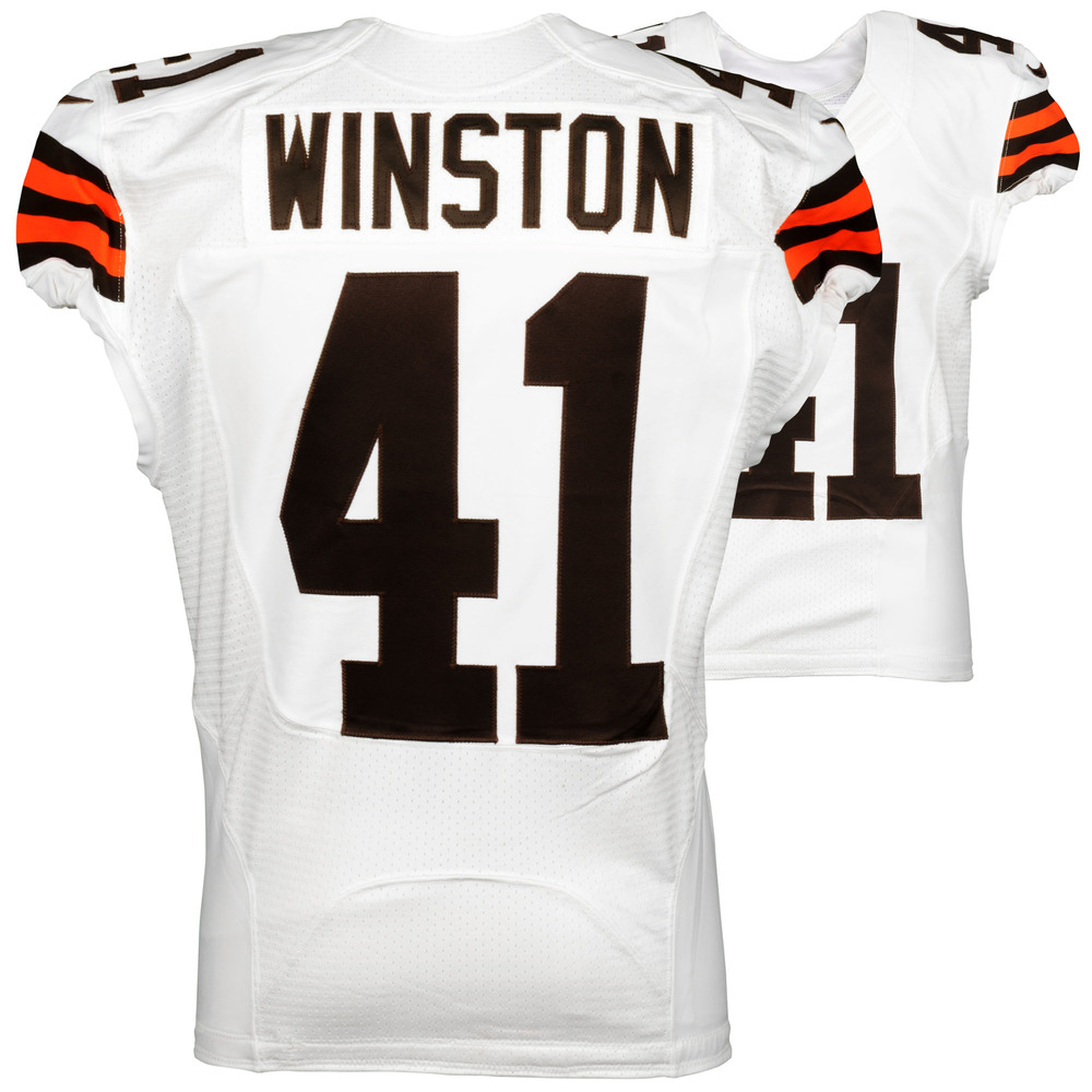 Glenn Winston Cleveland Browns Game Used White #41 Jersey from the 2014 Season