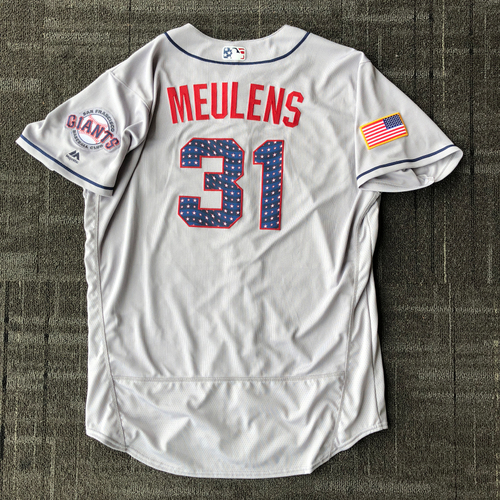 Photo of San Francisco Giants - 2018 Game-Used Stars & Stripes Jersey worn by #31 Hensley Meulens - Size 50