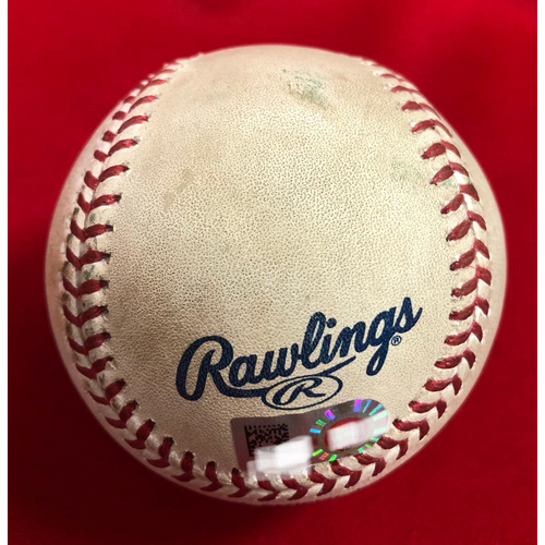 Photo of Scooter Gennett Triple Baseball -- Game Used -- 08/28/2018 -- MIL vs. CIN -- 7th Inning -- Soria to Gennett (3B); 2nd 3B of 2018