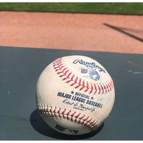Photo of Ronald Acuna Jr. Game Used Hit Single Ball 4/27/19
