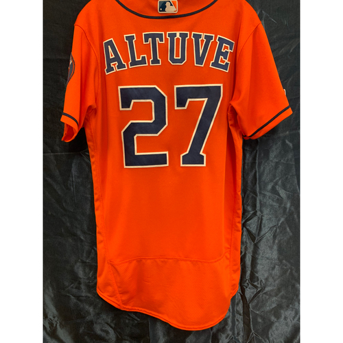 Photo of Houston Astros Jose Altuve 2019 Game-Used Orange Alt Jersey