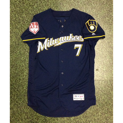 Photo of Eric Thames 2019 Game-Used Spring Training Jersey