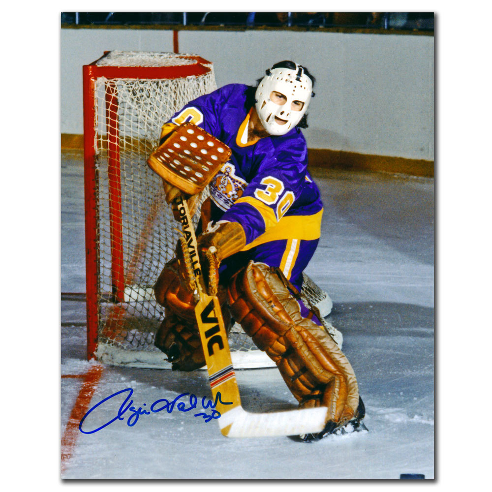 Rogie Vachon Los Angeles Kings CLEARING THE PUCK Autographed 8x10