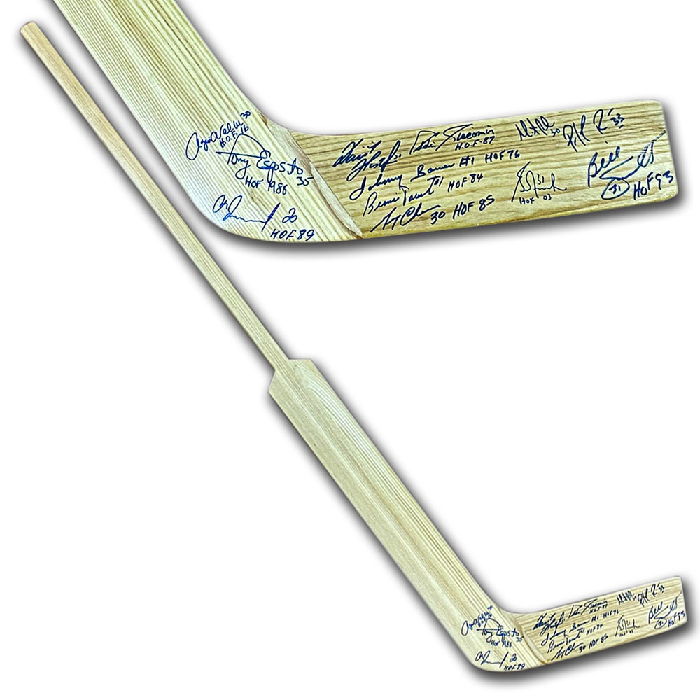 Wood Goalie Stick Autographed by 12 Legendary Netminders - Roy, Brodeur, Bower & More