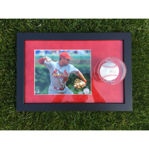 Cardinals Authentics: Aledmys Diaz Autographed Photo and Ball Frame