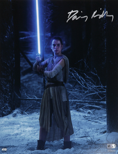 Daisy Ridley as Rey Autographed In Silver Ink 11x14 Photo