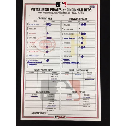 Replica Bullpen Card - 8/26/17 - PIT vs. CIN - Luis Castillo reaches career-high 9 strikeouts; PIT's Gerrit Cole earns first-ever win against Reds