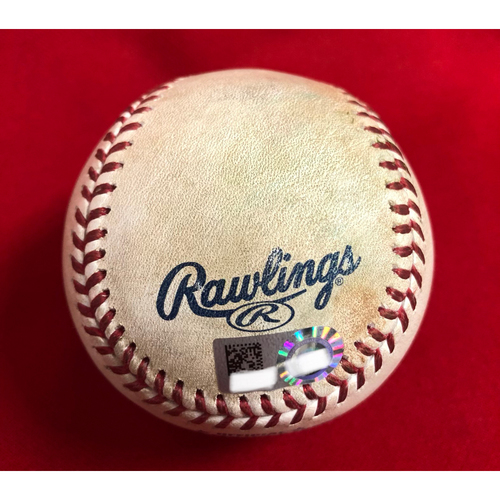 Photo of Willson Contreras Double Baseball -- Game Used -- 06/24/2018 -- CHC vs. CIN -- 8th Inning -- Garrett to Rizzo (K); to Contreras (2B)