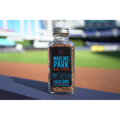 Photo of Miami Marlins Game-Used Dirt Bottle from Marlins Park