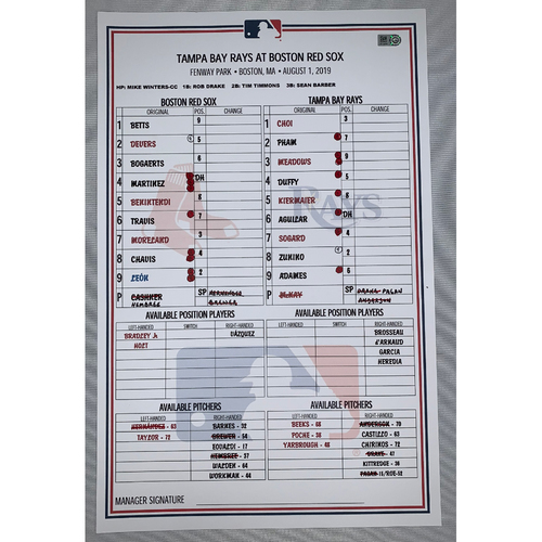 Photo of Tampa Bay Rays vs Boston Red Sox August 1, 2019 Game Used Lineup Card - Rays Win 9 to 4