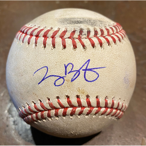 "Photo of 2020 Cyber Monday Sale - Game Used Autographed Baseball used on 8/20/20 vs. LAA - Joey Bart MLB Debut - Signed & Inscribed ""MLB Debut 8/20/20"" by #21 Joey Bart"