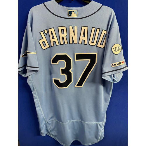 Photo of Game Used Columbia Blue Jersey: Travis d'Arnaud (Grand Slam, R, H, 4 RBI) - July 21, 2019 v CWS