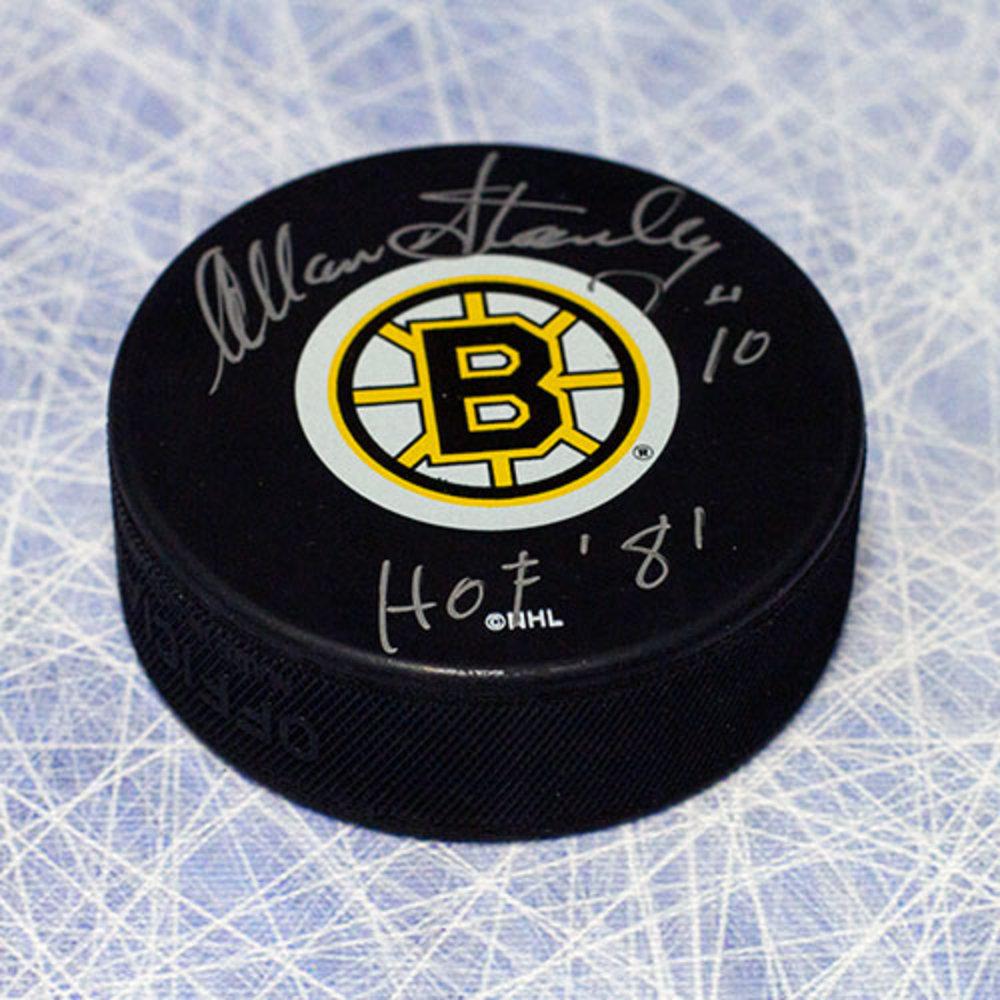 Allan Stanley Boston Bruins Autographed Hockey Puck with HOF Inscription