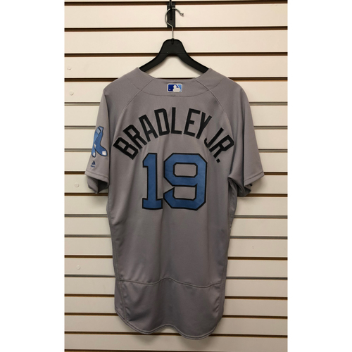 Photo of Jackie Bradley Jr. Game-Used June 18, 2017 Father's Day Road Jersey