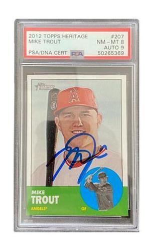 Photo of MIKE TROUT AUTOGRAPHED 2012 TOPPS HERITAGE TRADING CARD PSA NM_MT 8 AUTO 9