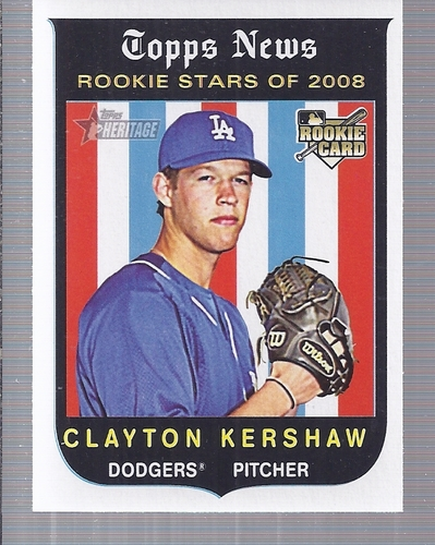Photo of 2008 Topps Heritage #595 Clayton Kershaw Rookie Card