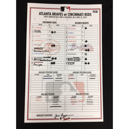 Team-Issued Bullpen Card - 4/25/18 - ATL vs. CIN - Ronald Acuna MLB Debut Game, signed by Jim Riggleman